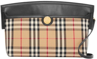 Burberry Vintage Check And Leather Society Clutch