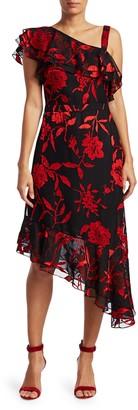 Rachel Zoe Antonia Asymmetric Metallic Floral-Print Midi A-Line Dress