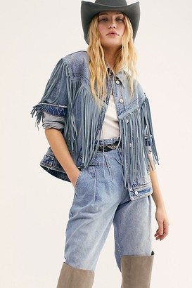 Free People After Hours Fringe Denim Jacket