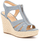 MICHAEL Michael Kors Berkley Denim Front Zip Espadrille Wedge Sandals