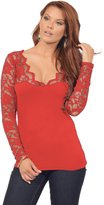 Hot From Hollywood Women's Fitted Cotton Casual Scalloped Floral Lace V Neck Long Sleeve Shirt Top