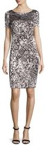 St. John Floral Burnout Short Sleeve Shift Dress, Caviar/Alabaster