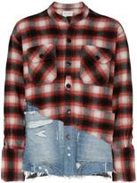 Greg Lauren check-denim hybrid shirt