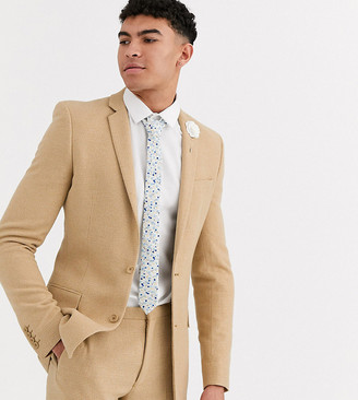 Asos Design DESIGN Tall wedding super skinny suit jacket in stone wool blend micro check-Beige