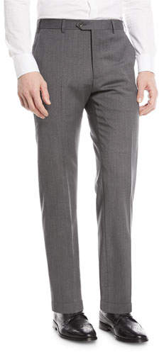 Emporio Armani Textured Wool Flat-Front Trousers