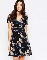 Yumi Floral And Bird Print Skater Dress