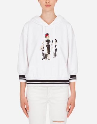 Dolce & Gabbana Jersey Hoodie With Family Detail
