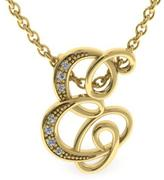 """Adoriana 10K Gold Initial """"E"""" Pendant Necklace with Diamond Accents"""