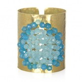 Wendy Mink Hammered Cuff with Blue and Aqua Calcite