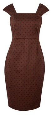 Dorothy Perkins Womens Brown Spot Print Gathered Strap Shift Cotton Blend Dress, Brown