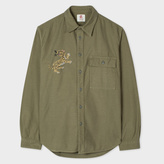 Paul Smith Men's Khaki Embroidered 'Tiger' Cotton Red Ear Shirt