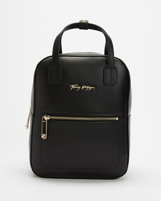Tommy Hilfiger Women's Black Backpacks - Iconic Tommy Signature Logo Backpack - Size One Size at The Iconic