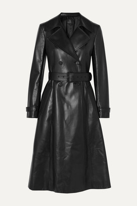 Prada Double-breasted Leather Trench Coat - Black