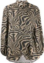 Ganni tiger print wrap shirt