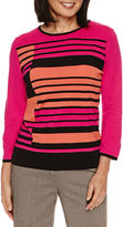 Alfred Dunner Theater District 3/4 Sleeve Stripe Colorblock Pullover Sweater