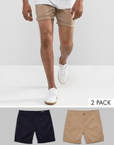 Asos 2 Pack Slim Chino Shorts In Stone & Navy SAVE