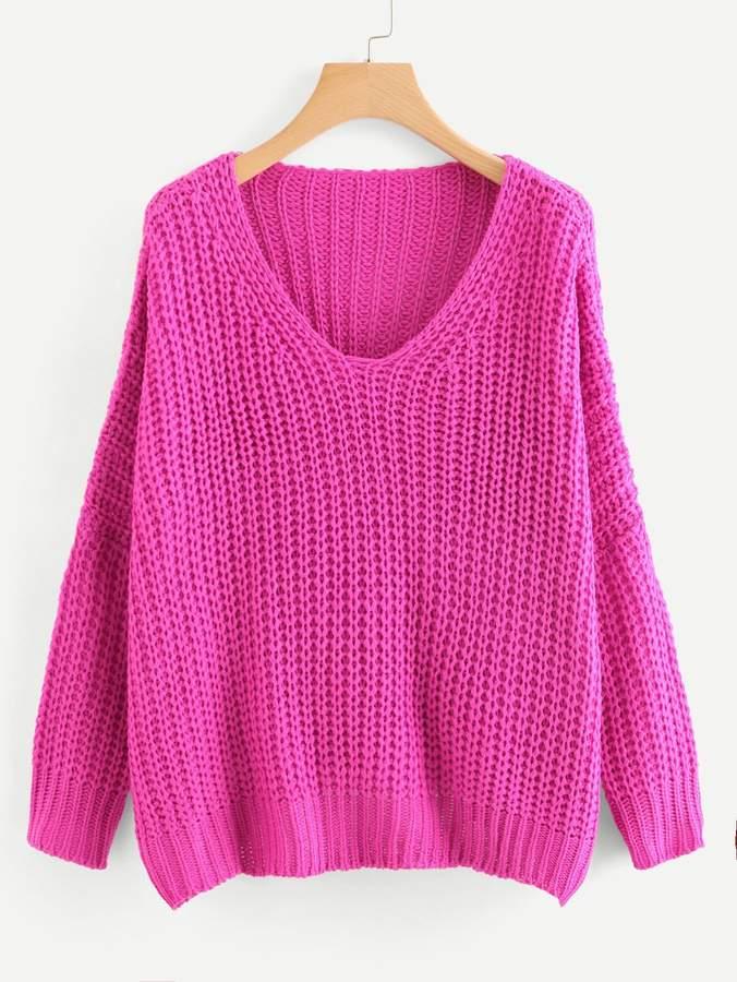 Shein Neon Pink V Neck Drop Shoulder Oversized Sweater