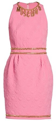 Moschino Chain-Trimmed Quilted Sheath Dress
