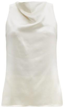 LA COLLECTION Pheadra Cowl-neck Silk-satin Blouse - White