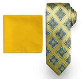 Men's Steve Harvey Medallion Tie & Solid Pocket Square
