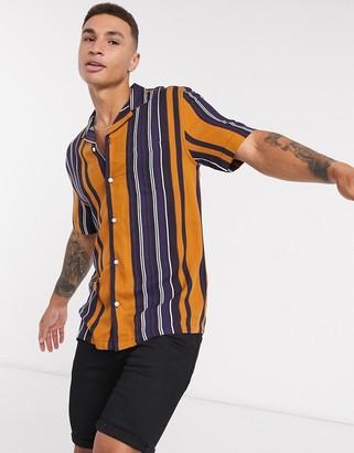 Burton Menswear viscose striped shirt in camel