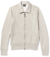 Tom Ford - Mélange Cotton-blend Jersey Zip-up Sweatshirt