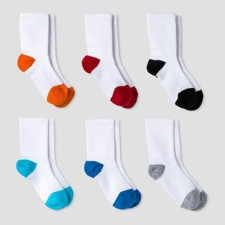 Cat & Jack Baby Boys' Athletic Crew Socks 6pk - Cat & JackTM Orange/Blue 12-24M