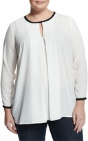 Vince Camuto Front-Pleat Contrast-Trim Blouse, New Ivory, Plus Size