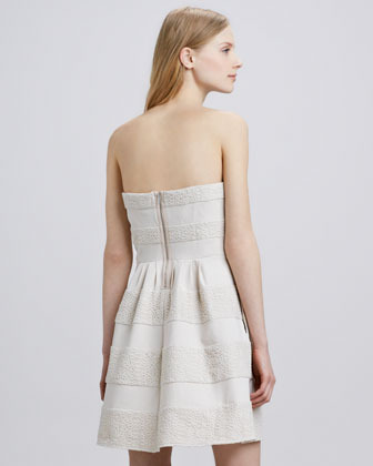 BCBGMAXAZRIA Strapless Texture-Stripe Dress