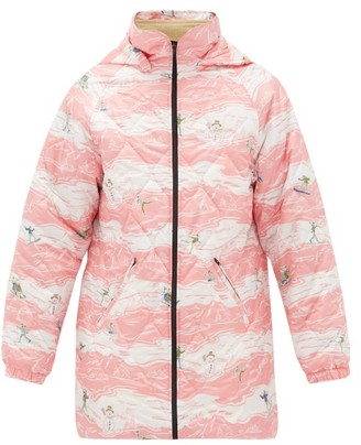 Martine Rose Hooded Ski-print Quilted Jacket - Pink