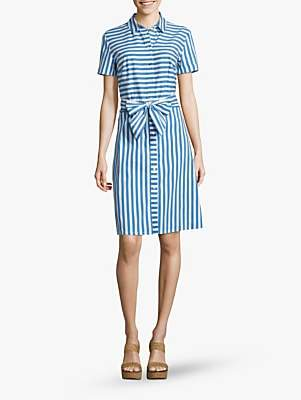 Betty Barclay Stripe Bow Shirt Dress, Blue/White