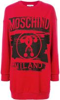 Moschino branded jersey dress - women - Cotton/water - XS