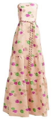 Peter Pilotto Tiered Floral Fil Coupe Cloque Gown - Womens - Pink Multi