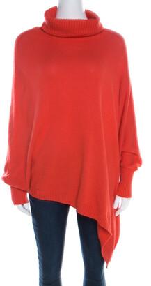 Escada Medium Orange Cashmere Wool Asymmetric Sleeve Oversized Turtleneck Sweater M