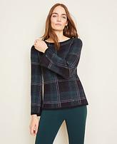 Ann Taylor Shimmer Blackwatch Plaid Sweater