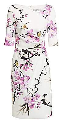 Teri Jon by Rickie Freeman Women's Floral Asymmetric Neckline Dress