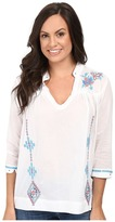 Stetson White Voile Peasant Blouse Long Sleeve Woven