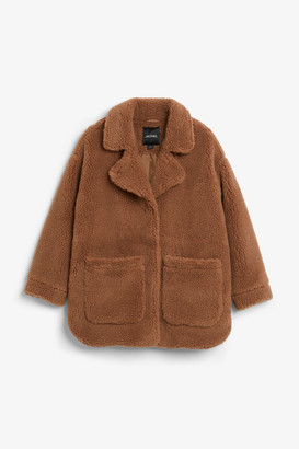 Monki Oversized faux shearling coat