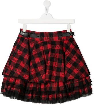 John Richmond Junior TEEN layered check-print skirt