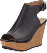 Kenneth Cole Sammy Leather Cork-Wedge Sandals