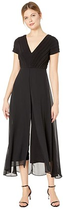 Adrianna Papell Pin Tucked Jersey Jumpsuit w/ Chiffon Overlay (Black) Women's Jumpsuit & Rompers One Piece