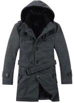 WHENOW Men's Winter Thicken Warm Classic Wool Pea Coat Hood Coat