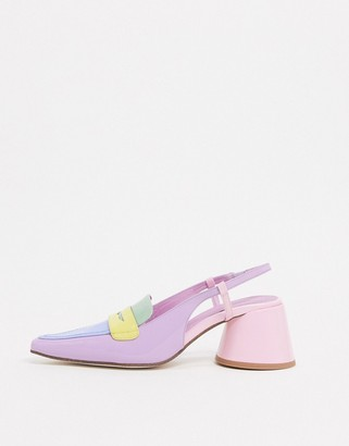 Jeffrey Campbell Ferra slingback heeled shoe in multi