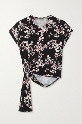 Paco Rabanne Gathered Floral-print Stretch-jersey Top - Black