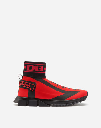 Dolce & Gabbana Sorrento High-Top Sneakers In Stretch Mesh With Logo