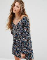 Glamorous Long Sleeve Button Front Tea Dress In Vintage Floral
