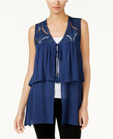 August Silk Tiered Crochet-Contrast Vest