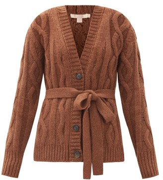 Brock Collection Ramo Belted Cable-knitted Cashmere Cardigan - Brown