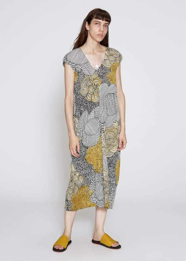Pleats Please Issey Miyake Paisley Graphite Print Dress