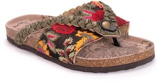 Muk Luks Elaine Embroidered Floral Footbed Sandal